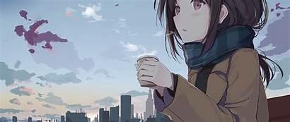 Anime Outside Holding Tea Resolution Wallpapers 4k