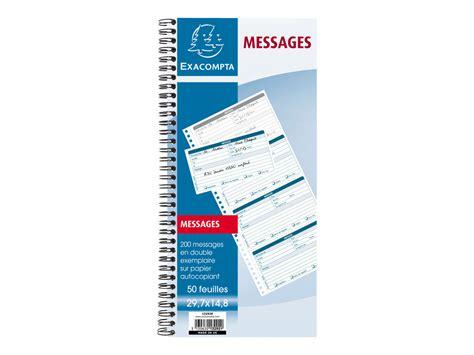 magasin fourniture bureau exacompta carnet de messages téléphoniques carnets