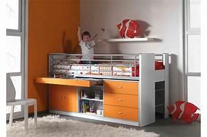 Lit Combiné Bureau : lit combin 5 coloris au choix 90x200 cm bureau ~ Premium-room.com Idées de Décoration