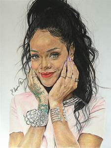 My first color drawing portraits.. ' Rihanna ' by ...
