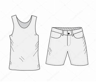 Shorts Drawing Sketch Clothes Shirt Tank Summer