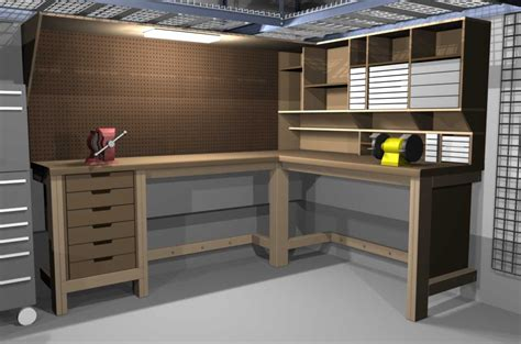 garage workbench plans garage shop corner l shape workbench design woodworking