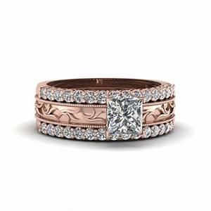 shop our 18k rose gold trio wedding ring sets fascinating With rose gold diamond wedding ring set