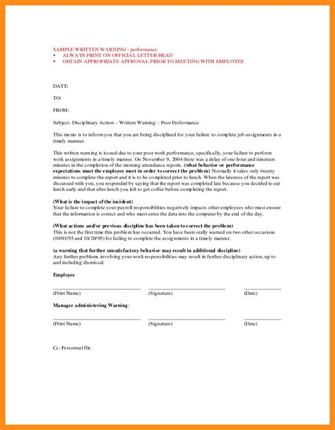 formal written warning letter letters  sample letters