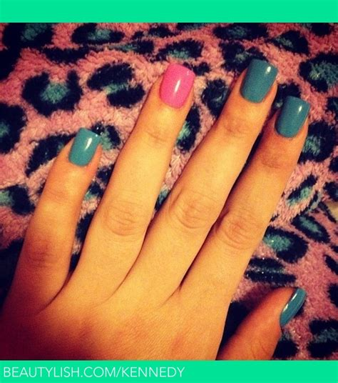 turquoise nails  hot pink accent nail stephanie