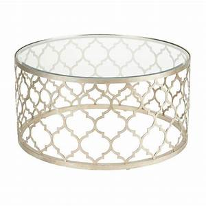 River stone cocktail table silver leaf modern silver for Round glass silver coffee table