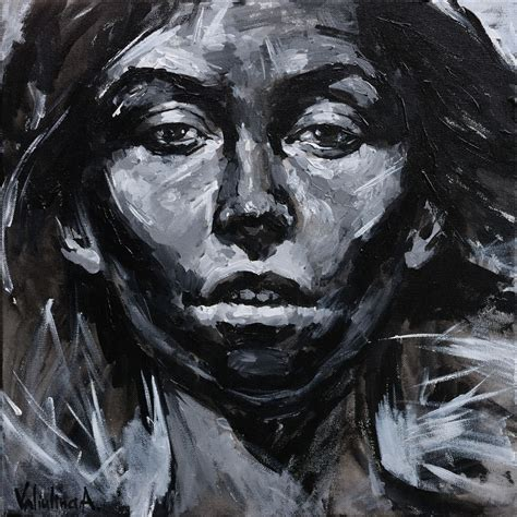 Abstract Black Portrait Painting black and white original portrait paint painting by