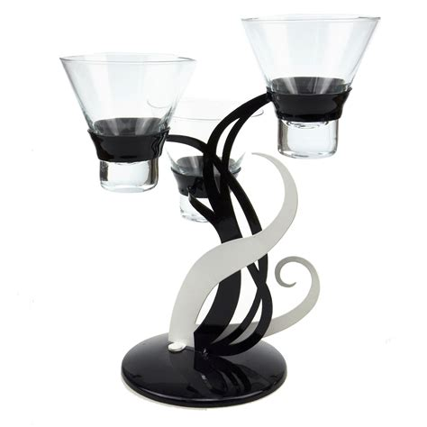black glass candle holder candle tea light holder candlestick black white silver