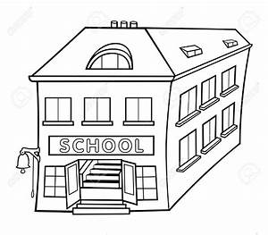 clipart black and white school building - Clipground