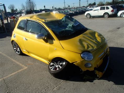 2015 Fiat 500 Sport 1.4 5 Speed Yellow Damaged All Over