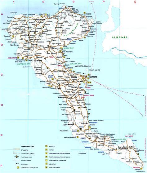 Карта Корфу на русском языке с городами и курортами и достопримечательности