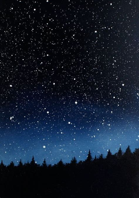 Night Sky Triptych Oil Painting Starry