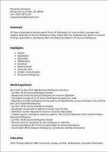 professional all source intelligence analyst templates to With resume sourcing sites