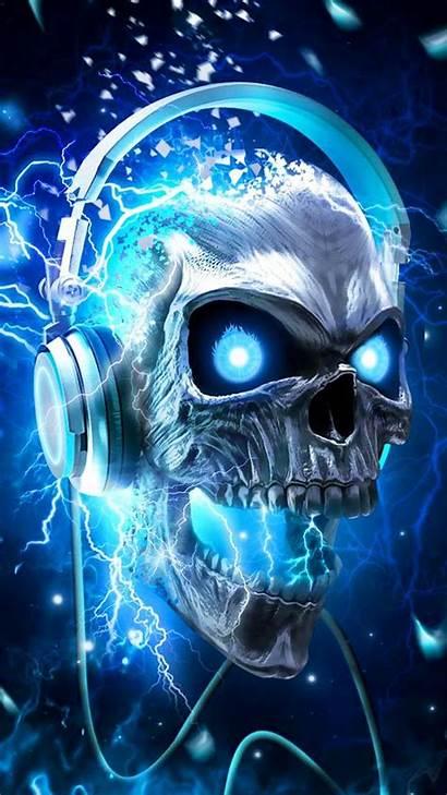 Skull Headphones Wallpapers Neon Skulls Headphone Flaming