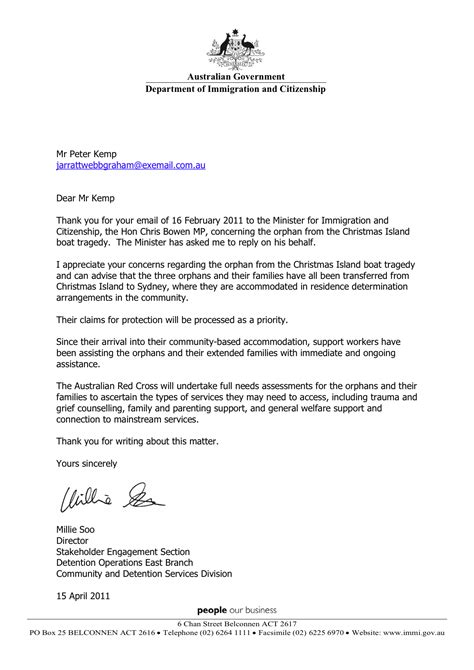 2011-04-15 UPDATE Australian minister for immigration and