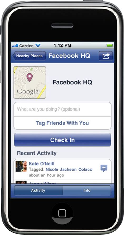 facebook adds geolocation check ins  iphone  web