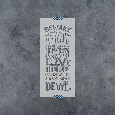 beware  witch stencil crafting stencils  witch themed