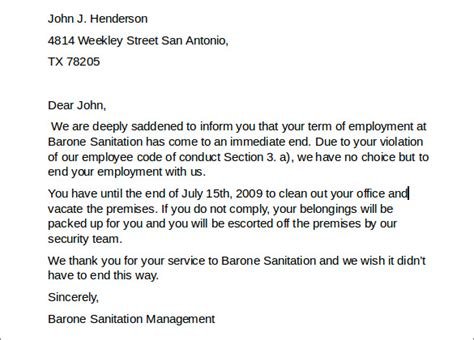 sample employment termination letter   documents
