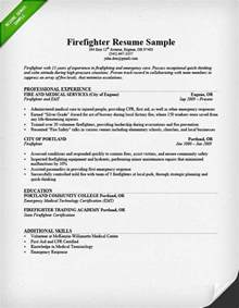 Resume For Firefighter Emt by Firefighter Resume Sle Writing Guide Resume Genius
