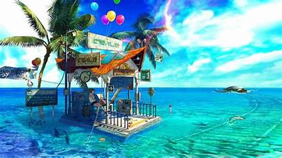 Anime Sea Palm Trees Balloon Desktop Wallpapers