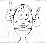 Silverware Egg Boiled Happy Clipart Cartoon Outlined Holding Royalty Coloring Marincas Andrei Vector Template sketch template