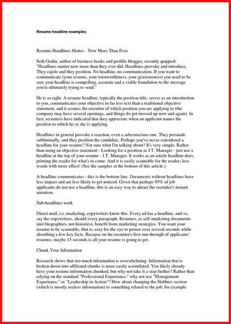 Resume Title Sle by Exles Of Resume Titles Apa Exle