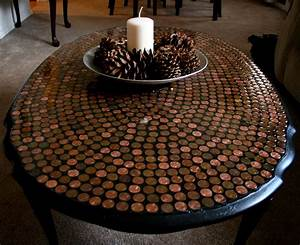 Diy penny tiled table for Penny coffee table