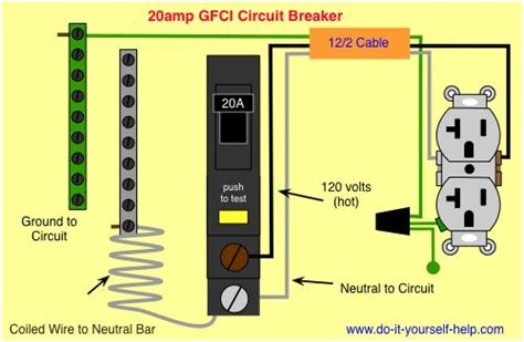 wiring diagram gfci circuit breaker shop wiring pinterest