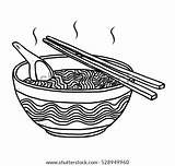 Noodles Ramen Cartoon Bowl Sketch Vector Hand Chinese Drawn Illustration Background Shutterstock Food Isolated Pic sketch template