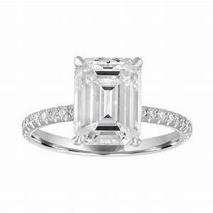emerald cut engagement ring with pave band stephanie With emerald cut engagement ring with wedding band