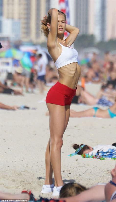 Victorias Secret Vita Sidorkina Displays Her Slim Frame In Skimpy Bikinis For Fitness Shoot