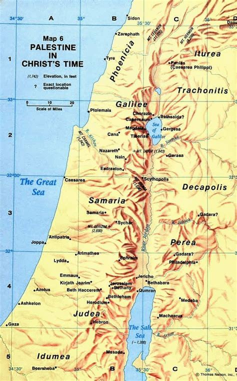 ancient map  palestine   time  jesus christ