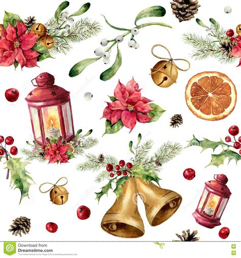 poinsettia bell ornament traditions watercolor christmas seamless pattern with decor and lantern new year tree ornament with
