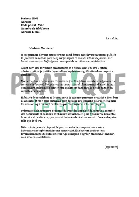 modele lettre de motivation emploi secretaire document