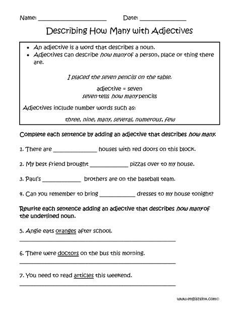 adjectives worksheets regular adjectives worksheets