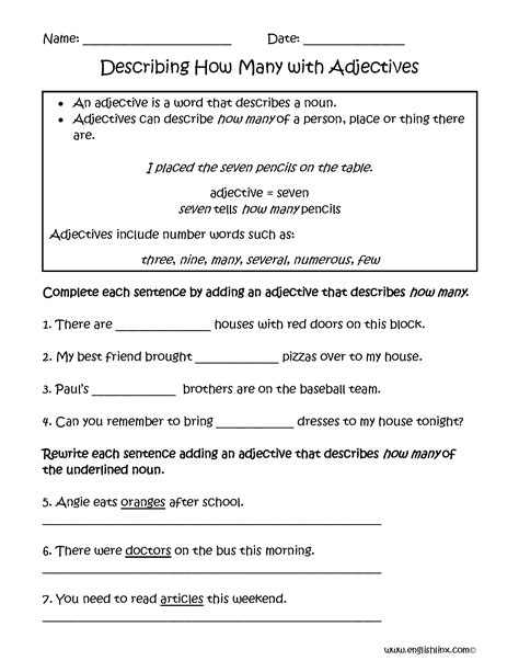 Adjective Review Worksheet Middle School Homeshealthinfo