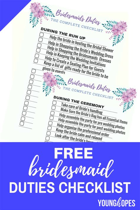 bridesmaid duties checklist printable  wedding day