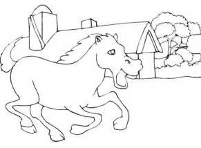 disegno  cavallo vicinno  stalla da colorare disegni