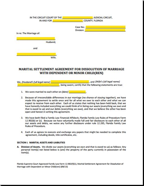 florida marital settlement agreements  msa