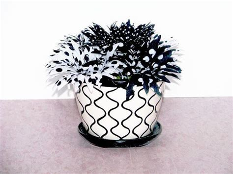 Flower Pot With Black And White Design Flowers Match