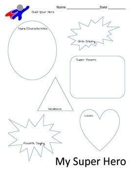 super hero profile sheet  dialogue writing activity