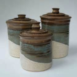 brown kitchen canister sets kitchen set of 3 canisters brown blue gray oatmeal ceramic