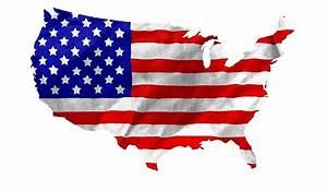 """USA Flag Country Outline"" Metal Prints by MarkUK97"