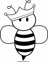 Bee Coloring Queen Bumble Silhouette Pencil Bees Uploaded User Template Clip sketch template