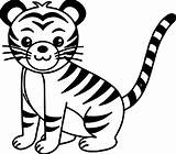 Tiger Coloring Pages Cute Cat Printable Wecoloringpage Sheets Clipartmag Animal sketch template