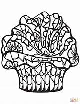 Coloring Cupcake Pages Zentangle Printable Paper Drawing sketch template
