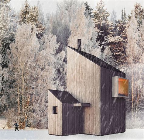 Modern Minimalism Meets Wooden Warmth inside Small Winter