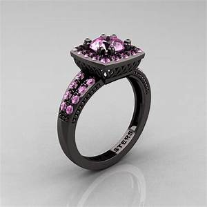 renaissance classic 14k black gold 10 carat light pink With black gold pink sapphire wedding ring