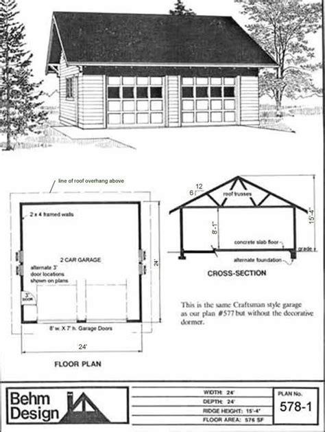 24 x 24 24x24 24'x24' roof overhang two car garage 2 car