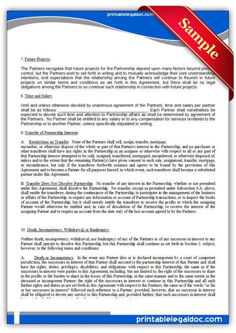 printable partnership agreement form generic